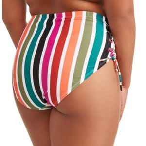 High Waist Tummy Control Striped Bikini Bottom 4X